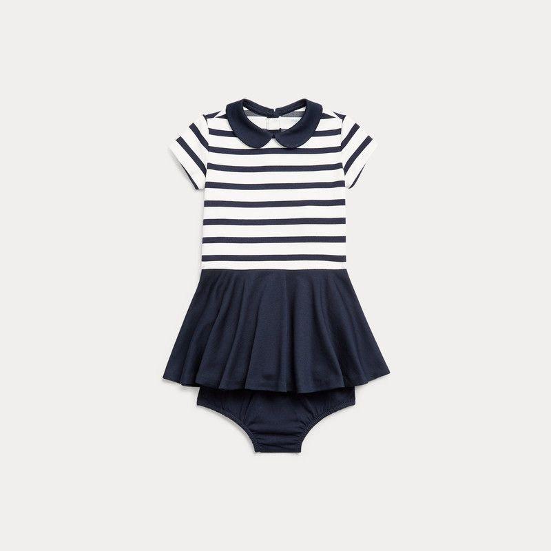 ツートン・ポンテ・半袖ドレス[ネイビー](女の子0〜24か月用)