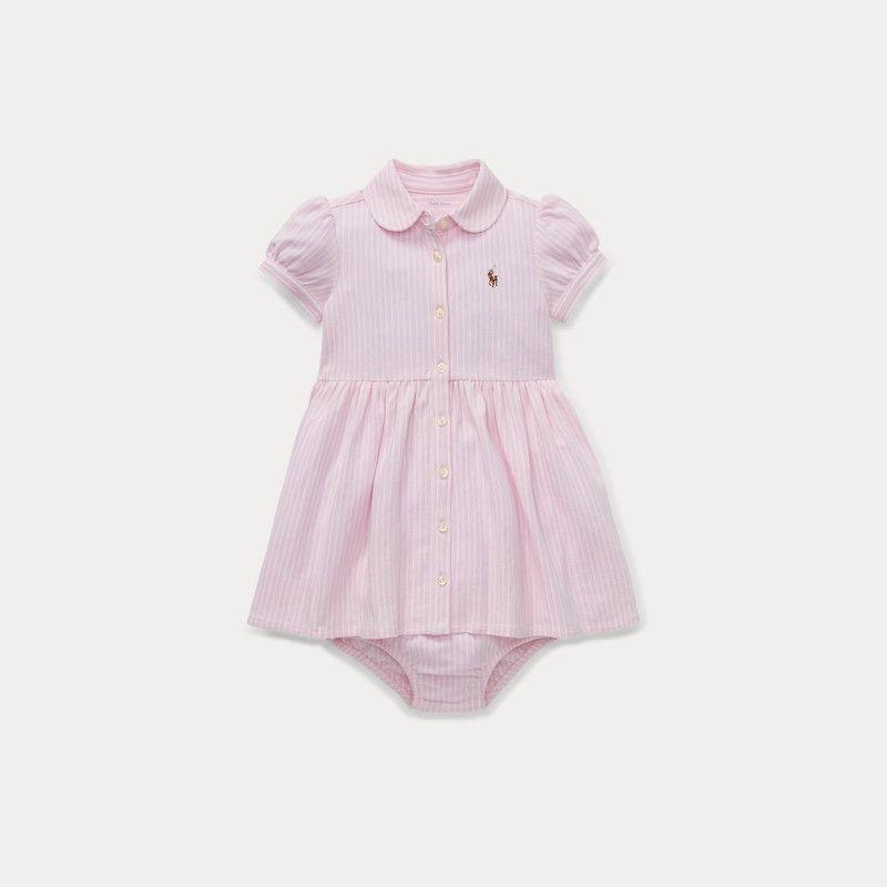 ストライプ・ニット・オクスフォード・半袖ドレス[ピンク](女の子0〜24か月用)