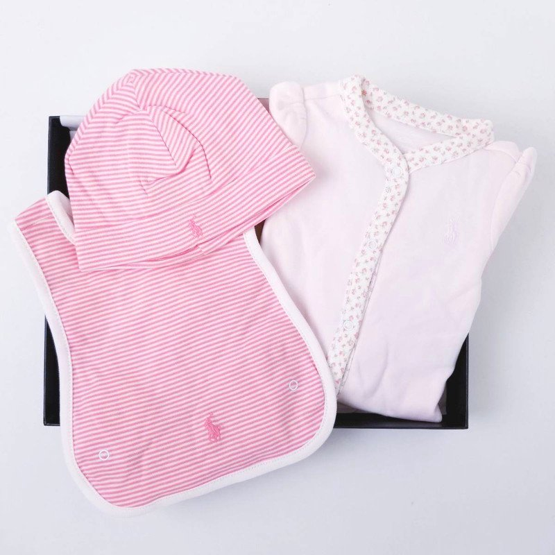 【ラッピング・送料無料】フローラル&ストライプ・3ピースギフトセット[ピンク&フローラル](女の子6〜9か月用)