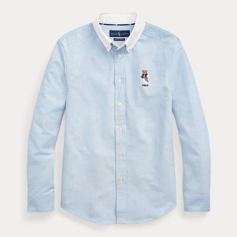 フットボールベア・コットン・長袖シャツ[ブルー](ボーイズS〜XL)
