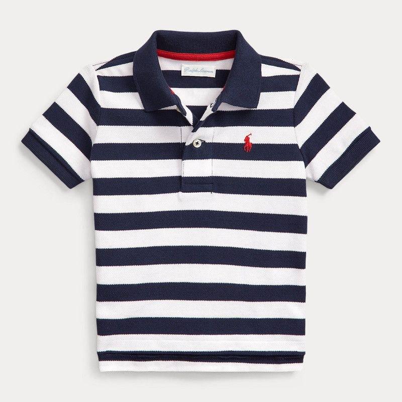 ストライプ・コットンメッシュ・半袖Tシャツ[2色展開](男の子12〜24か月用)