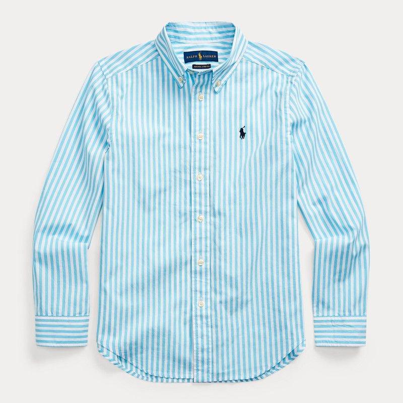 ストライプ・コットンポプリン・長袖シャツ[2色展開](ボーイズS〜XL)