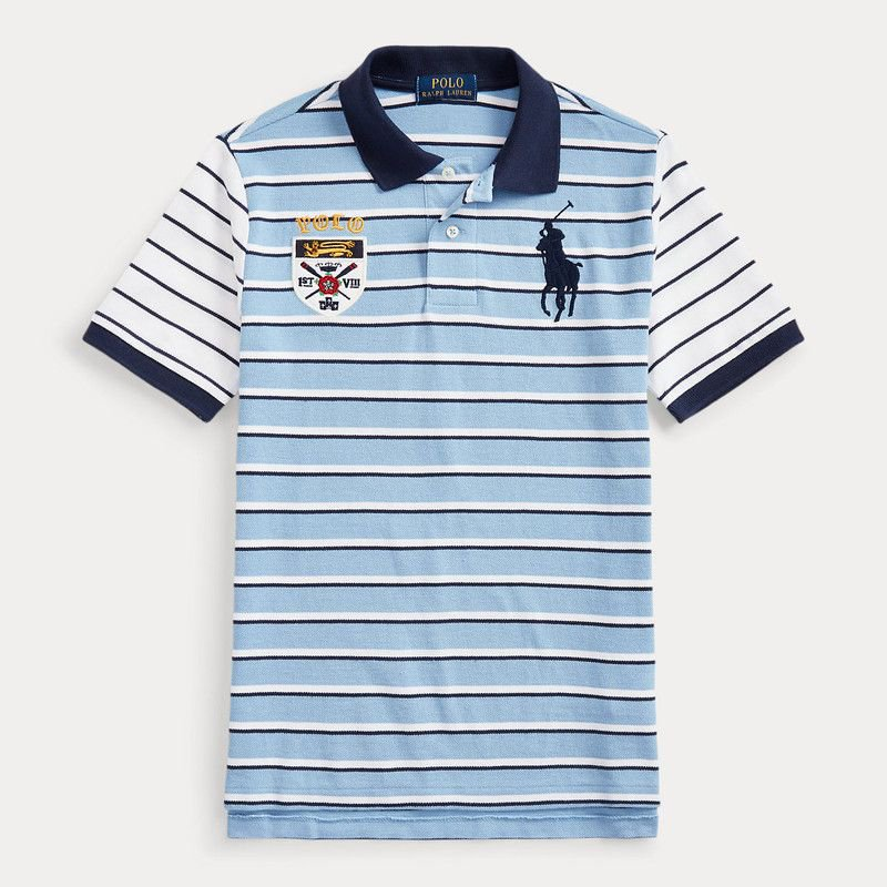 ビッグポニー・ストライプ・半袖ポロシャツ[3色展開](ボーイズS〜XL)