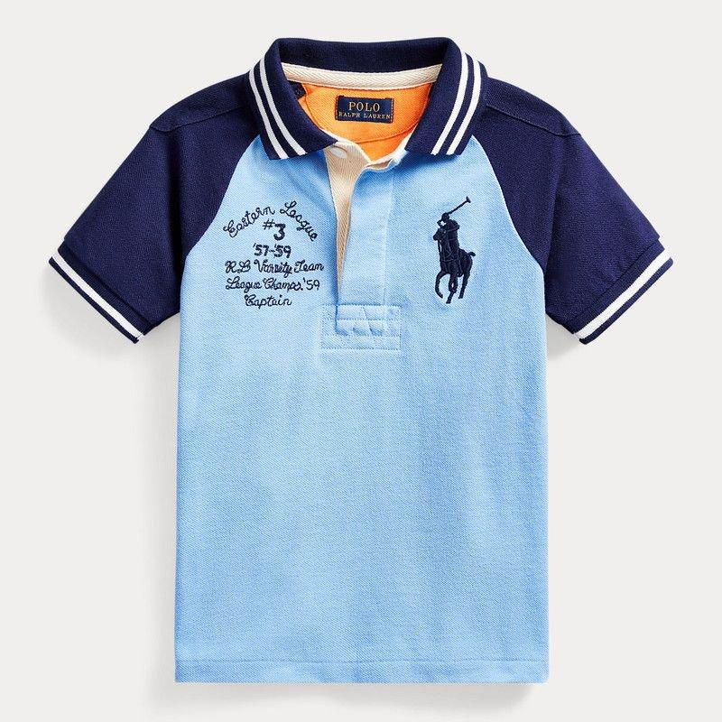 ビッグポニー・エムブレム・切替え・半袖ポロシャツ[ブルー](男の子2〜7歳用)
