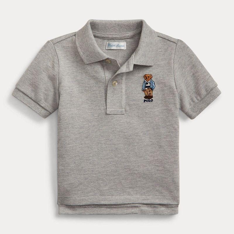 ラグビーベア・コットン・半袖ポロシャツ[グレー] (男の子12〜24か月用)