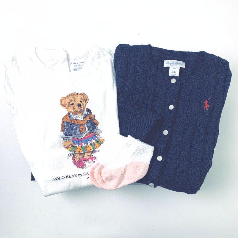 【ラッピング・送料無料】ポロベア・Tシャツ&カーディガン・2ピースギフトセット [ホワイト&ネイビー](女の子12〜24か月用)