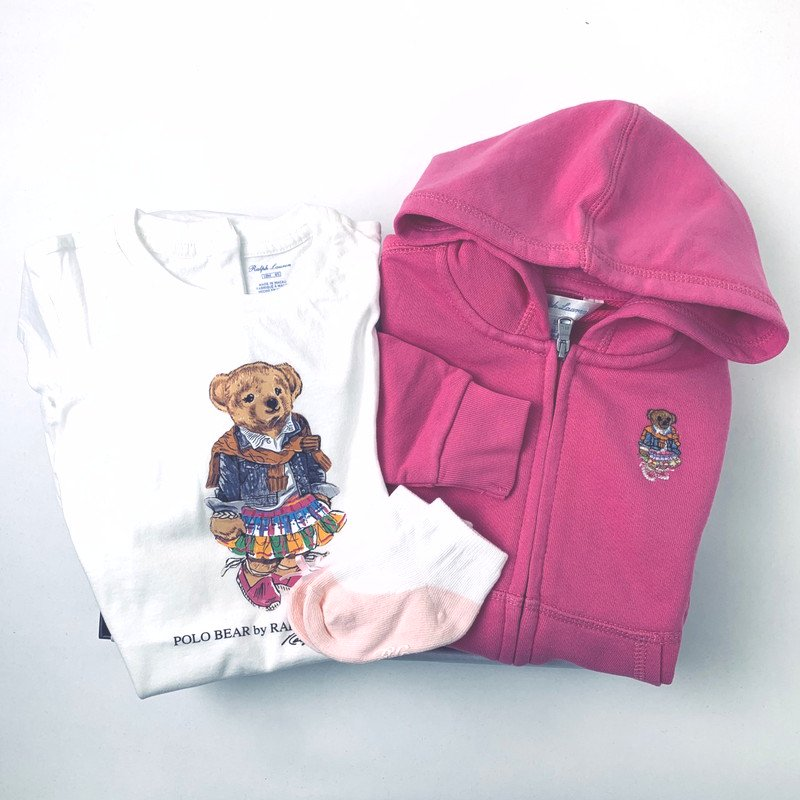 【ラッピング・送料無料】ポロベア・Tシャツ&パーカー・3ピースギフトセット [ホワイト&ピンク](女の子12〜24か月用)
