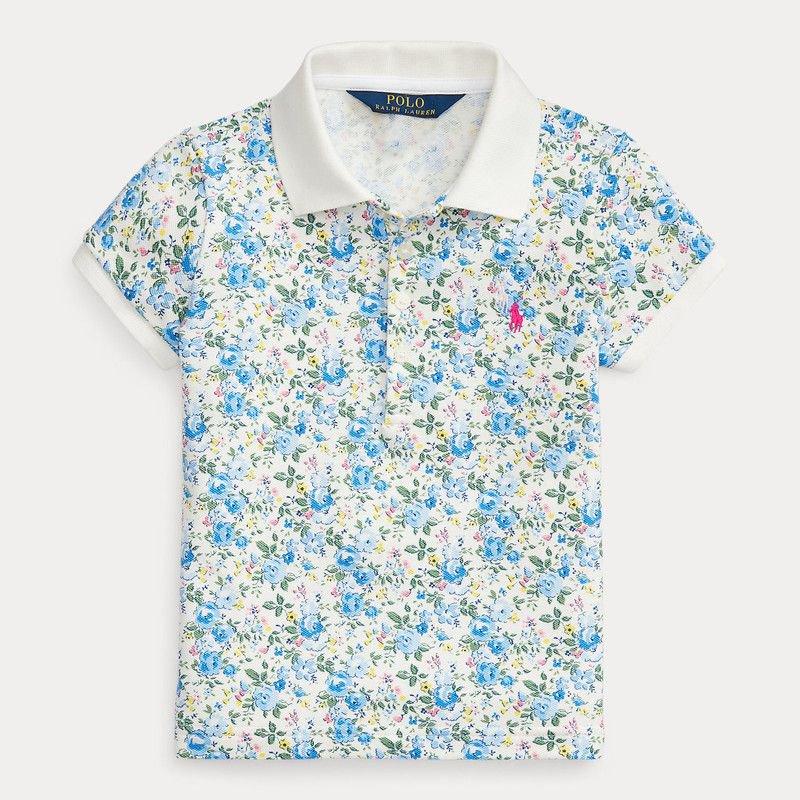 フローラル・ストレッチ・半袖ポロシャツ[ブルー] (女の子2〜7歳用)