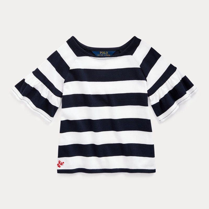 ラッフルド・コットン・半袖トップス[ネイビー](女の子2〜7歳用)
