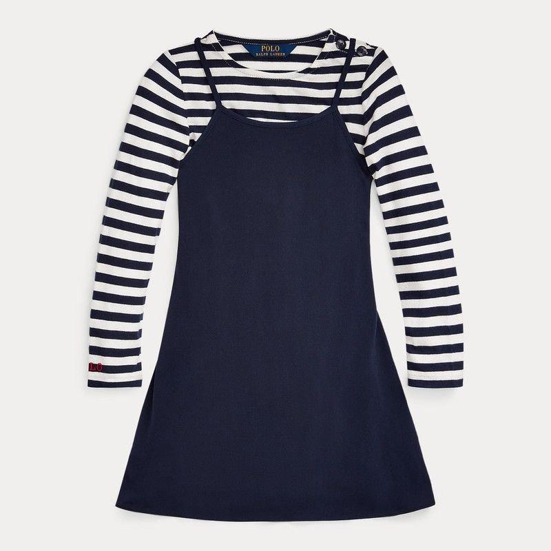 コットンツイル・長袖シャツドレス[ネイビー](女の子2〜7歳用)