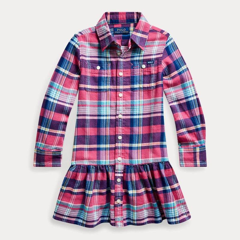 プレイド・コットンツイル・長袖シャツ(女の子2〜7歳用)