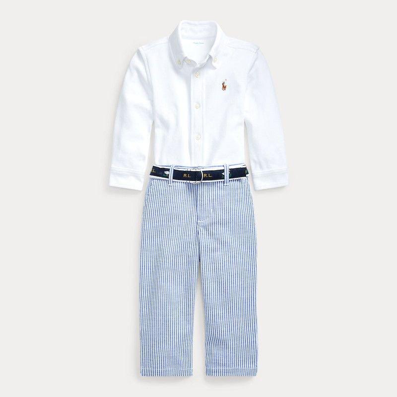長袖シャツ&ロングパンツセット[ホワイト&ブルー] (男の子12〜24か月用)