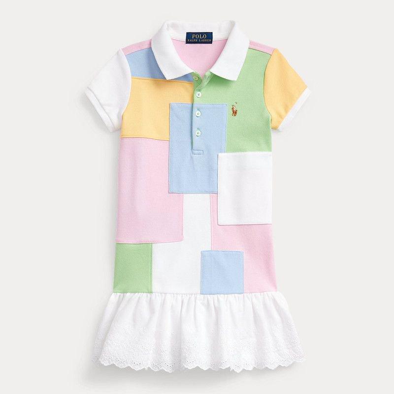 パッチワーク・メッシュ・半袖ポロドレス[マルチ] (女の子2〜7歳用)