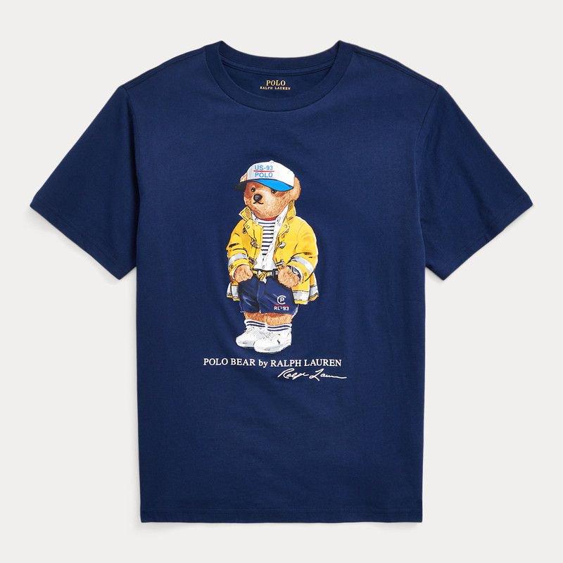 CP93ベア・コットン・半袖Tシャツ[ネイビー](男の子2〜7歳用)