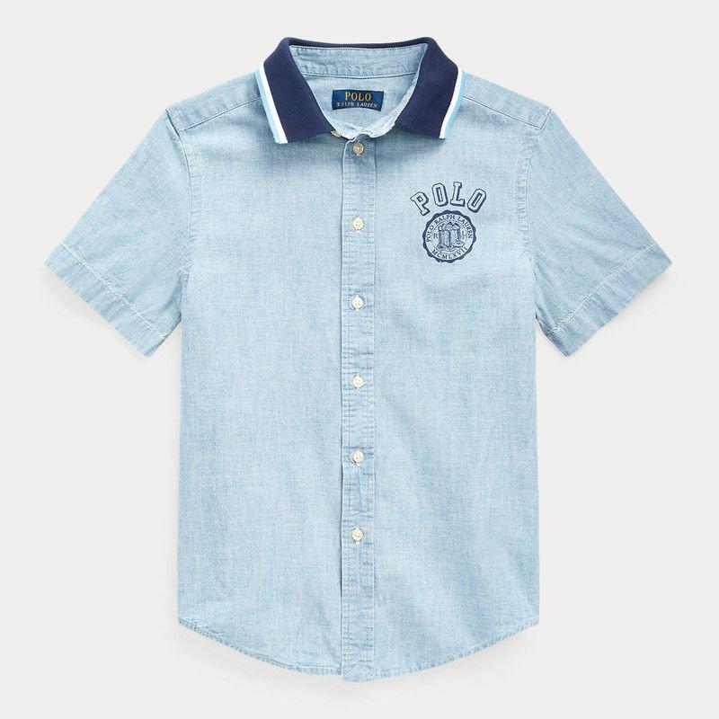 POLO・シャンブレー・半袖シャツ[ライトブルー](ボーイズSサイズ) (ボーイズS〜XL)