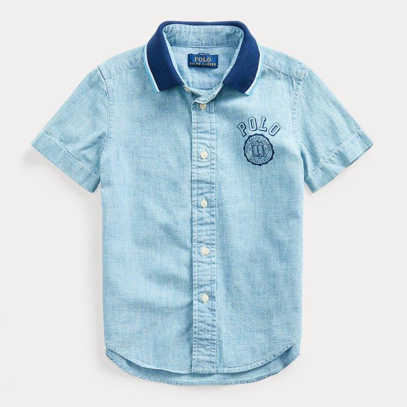 POLO・シャンブレー・半袖シャツ[ライトブルー](3サイズ) (男の子2〜7歳用)