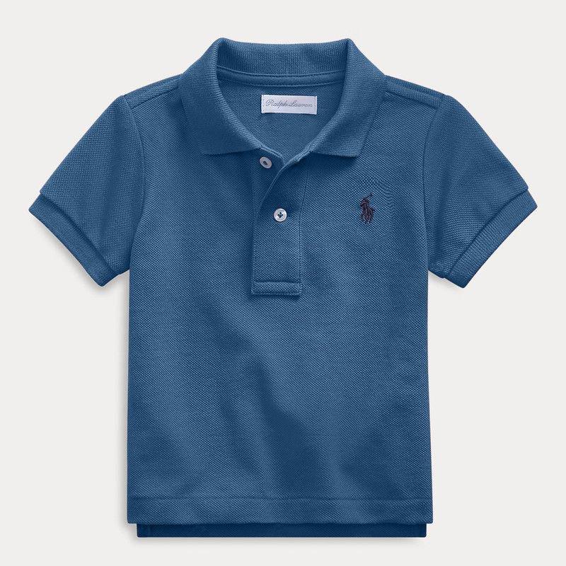 コットンメッシュ・半袖ポロシャツ[フェデラルブルー]  (男の子12〜24か月用)