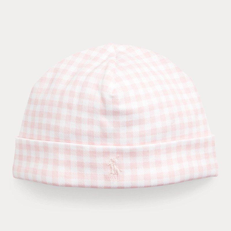 ギンガム・インターロック・ハット[ピンク](女の子0〜9ヶ月用)