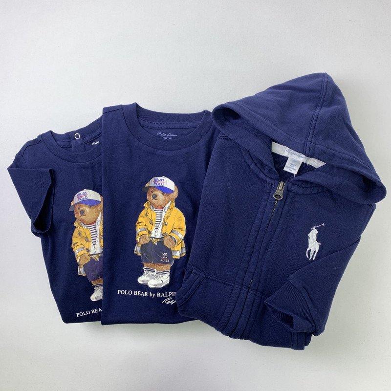 【ラッピング・送料無料】ポロベア&ビッグポニー・3ピースギフトセット[ネイビー](男の子6〜24か月用)