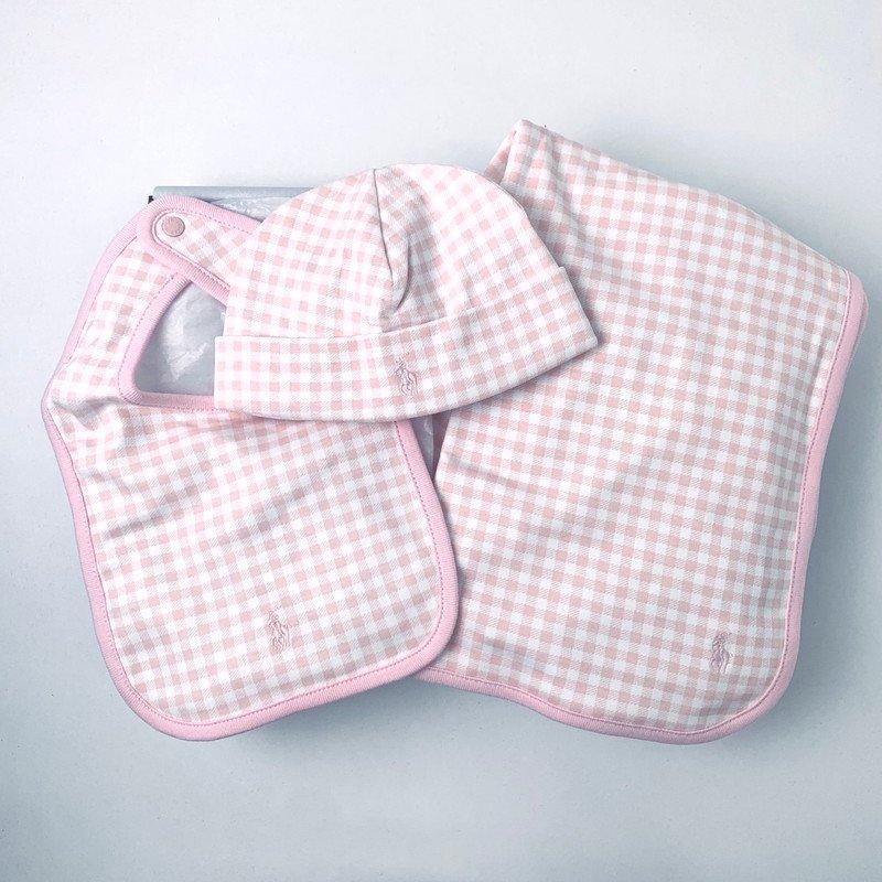 【ラッピング・送料無料】ギンガム・アクセサリ・3ピースギフトセット [ピンク](女の子0〜9か月用)