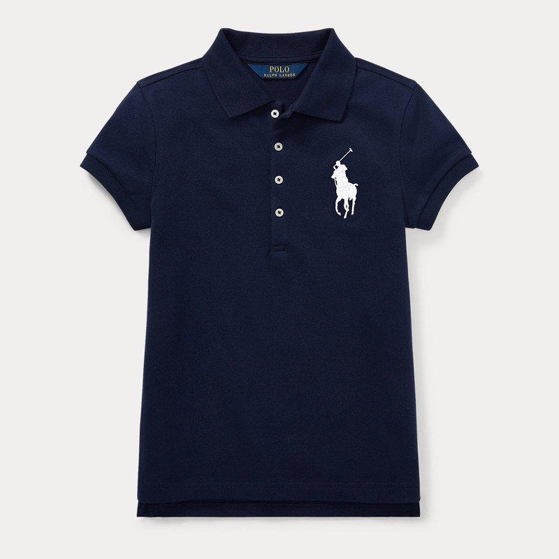 ビッグポニー・ストレッチメッシュ・半袖ポロシャツ[ネイビー] (ガールズS〜XL)