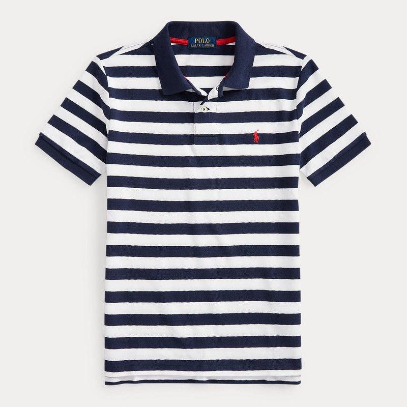 ストライプ・コットンメッシュ・半袖ポロシャツ[3色展開](ボーイズS〜XL)