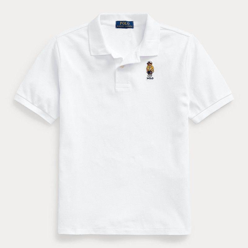 CP93ベア・コットンメッシュ・半袖ポロシャツ[ホワイト](ボーイズS〜XL)