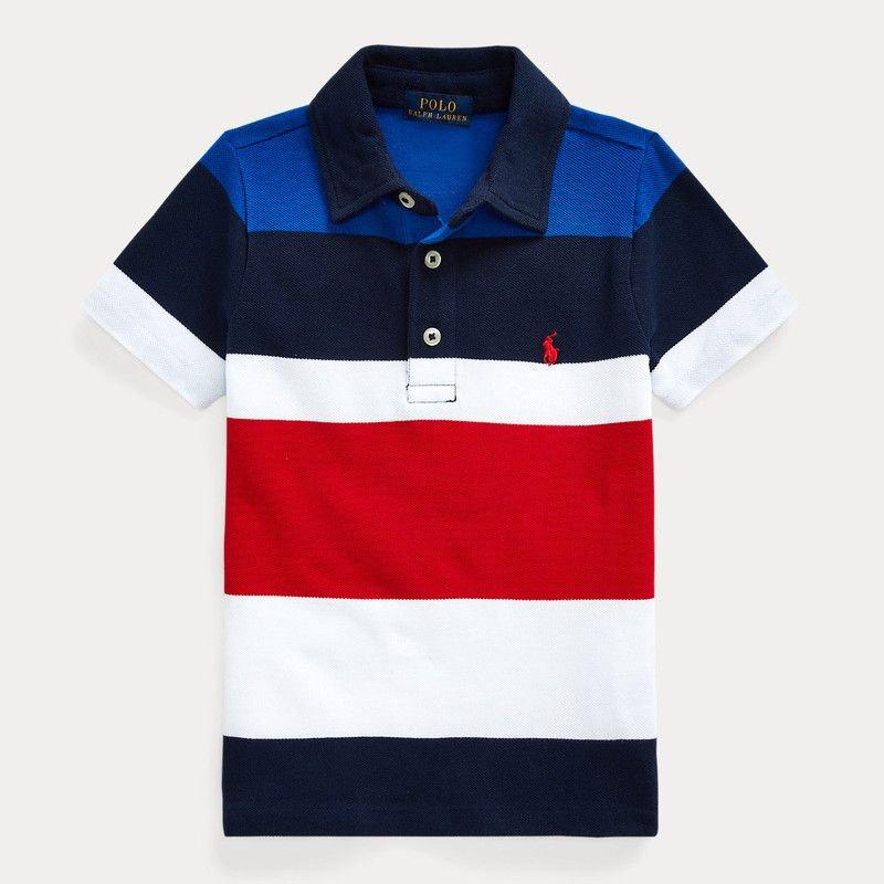 ストライプ・コットンメッシュ・半袖ポロシャツ[ネイビー](男の子2〜7歳用)