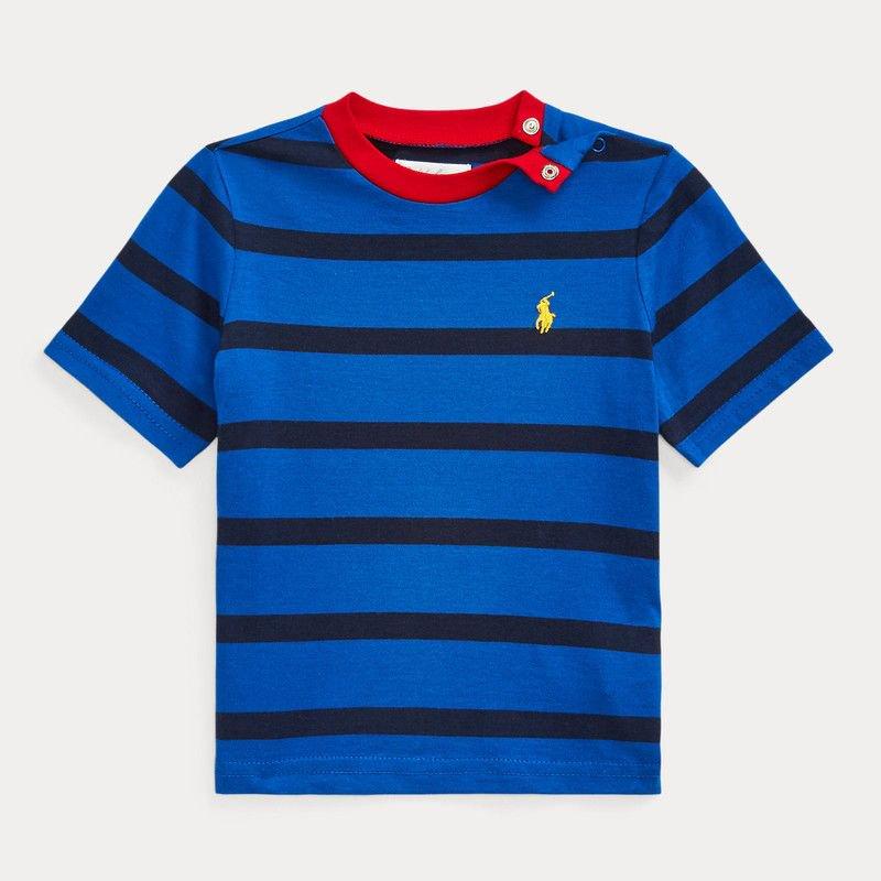 ストライプ・コットンジャージー・半袖Tシャツ[ブルー] (男の子12〜24か月用)