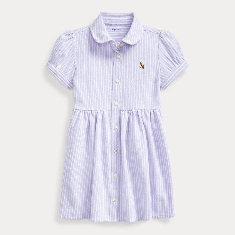 ストライプ・オクスフォード・半袖ドレス[パープル] (女の子0〜24か月用)