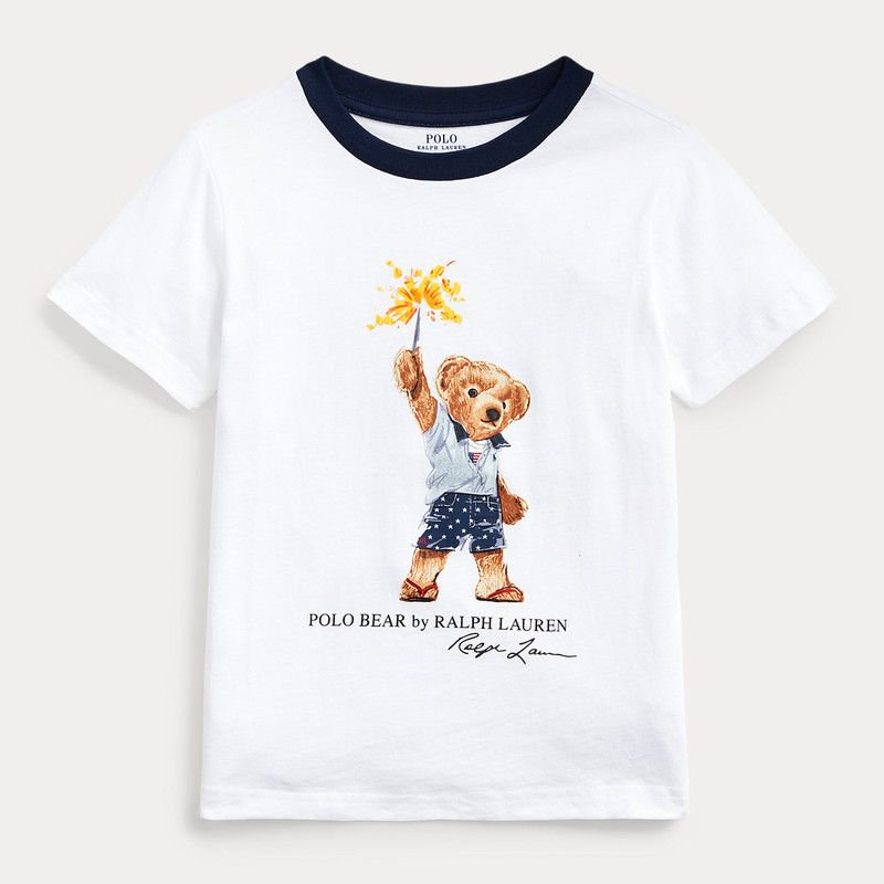 スパークラーベア・コットン・半袖Tシャツ[ホワイト] (男の子2〜7歳用)
