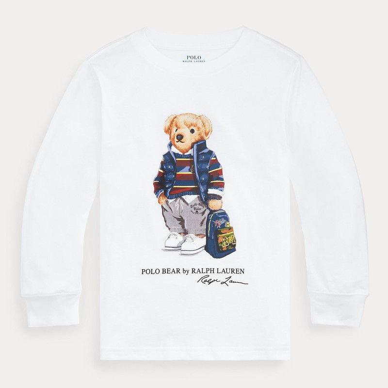 ポロベア・コットン・長袖Tシャツ[ホワイト] (男の子2〜7歳用)