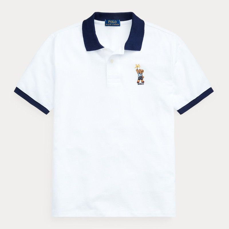 スパークラーベア・コットンメッシュ・半袖ポロシャツ[ホワイト] (ボーイズS〜XL)