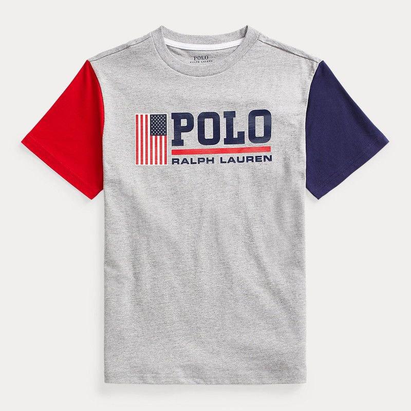 コットン・グラフィック・半袖Tシャツ[グレー]  (ボーイズS〜XL)
