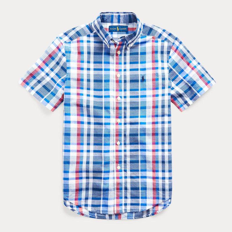 コットン・マドラス・半袖シャツ[ブルーマルチ]  (ボーイズS〜XL)