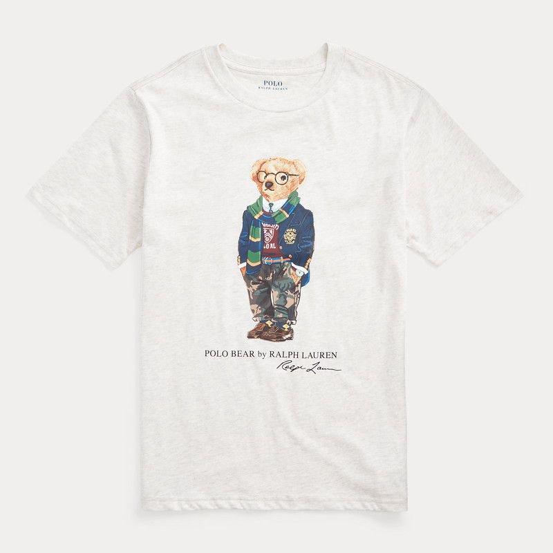 プレッピーベア・コットン・半袖Tシャツ[アメリカンヘザー] (ボーイズS〜XL)