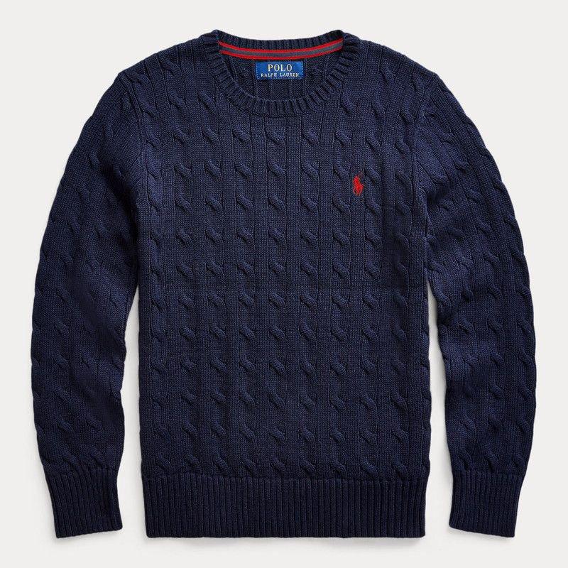 ケーブルニット・コットン・セーター[ネイビー] (ボーイズS〜XL)