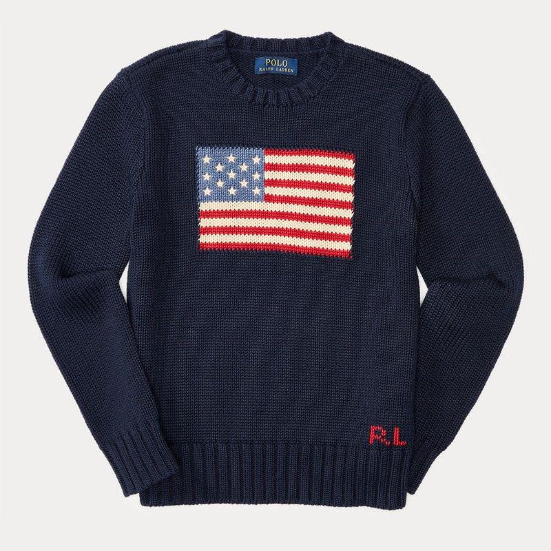 アメリカンフラッグ・コットン・セーター[ネイビー] (ボーイズS〜XL)