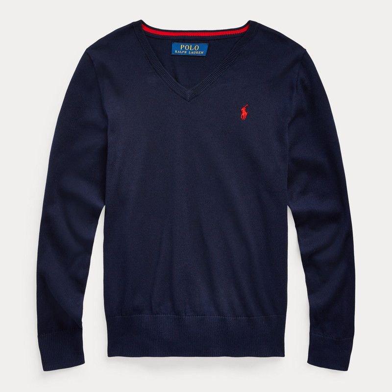 コットン・Vネック・セーター[3色展開] (ボーイズS〜XL)