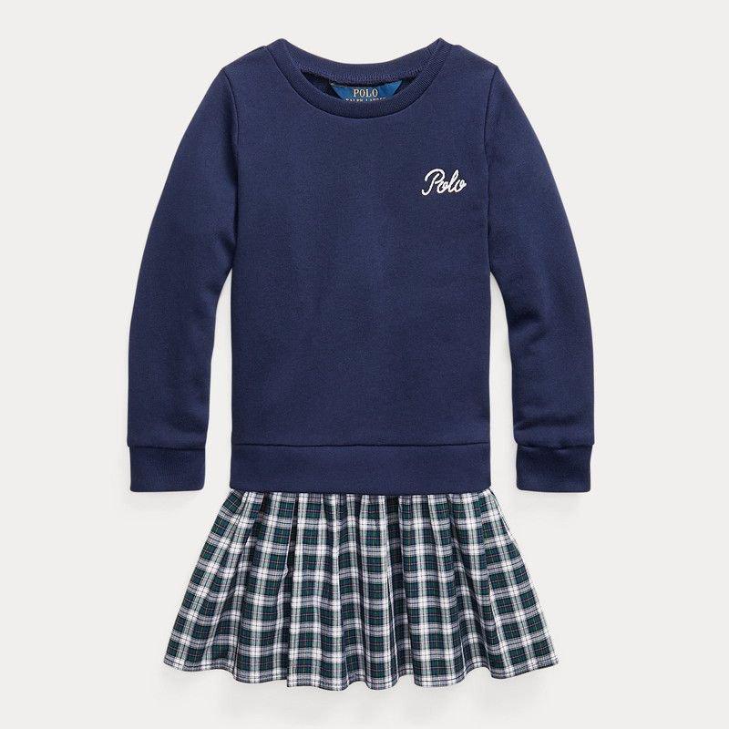 プレイドスカート・トレーナードレス[ネイビー](女の子2〜7歳用)