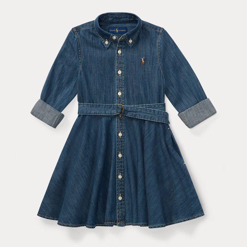 シャードデニム・長袖シャツドレス[ネイビー](女の子2〜7歳用)