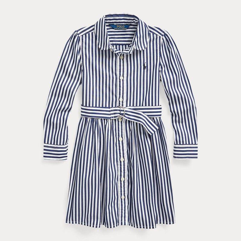 ストライプ・コットン・長袖シャツドレス[ネイビーマルチ](女の子2〜7歳用)