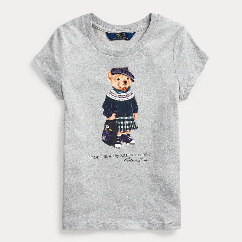 バックパックベア・コットン・半袖Tシャツ[グレー](女の子2〜7歳用)