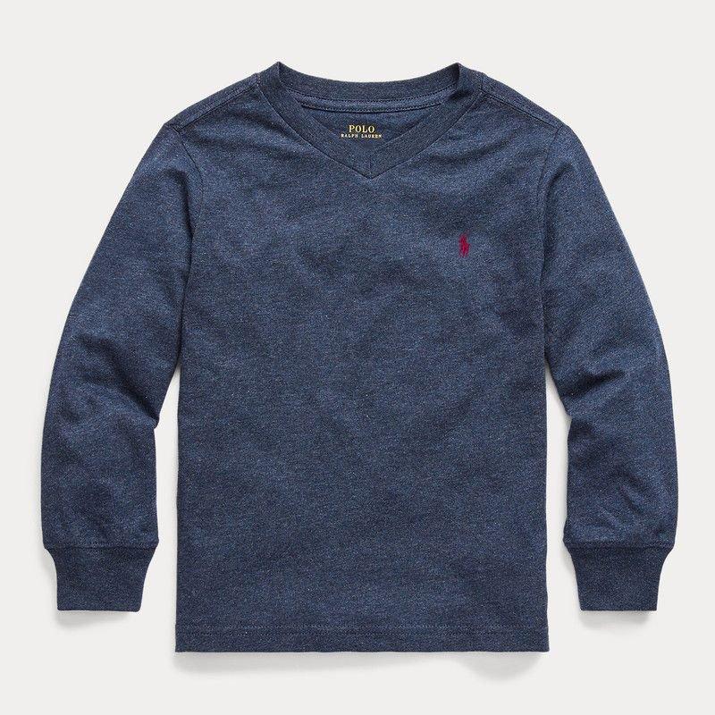 コットン・Vネック・長袖Tシャツ[3色展開] (ボーイズS〜XL)