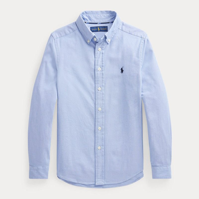 パフォーマンス・オクスフォード・長袖シャツ[ブルー] (ボーイズS〜XL)