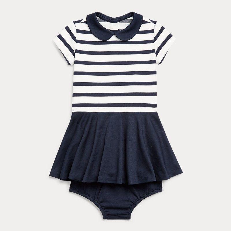 ツートン・ポンテ・半袖ドレス[ネイビー](女の子12〜24か月用)