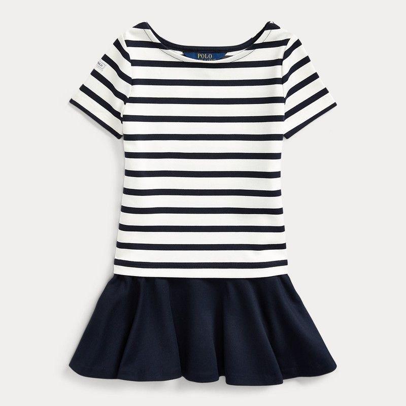 ストライプ・ストレッチ・半袖ドレス[ネイビー](女の子2〜7歳用)