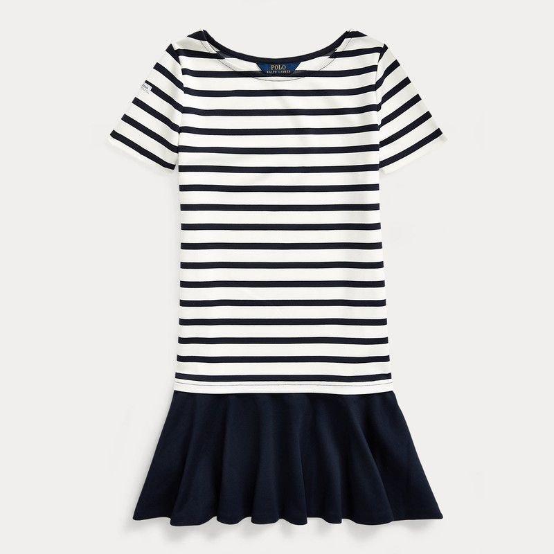 ストライプ・ストレッチ・半袖ドレス[ネイビー](ガールズS〜XL)