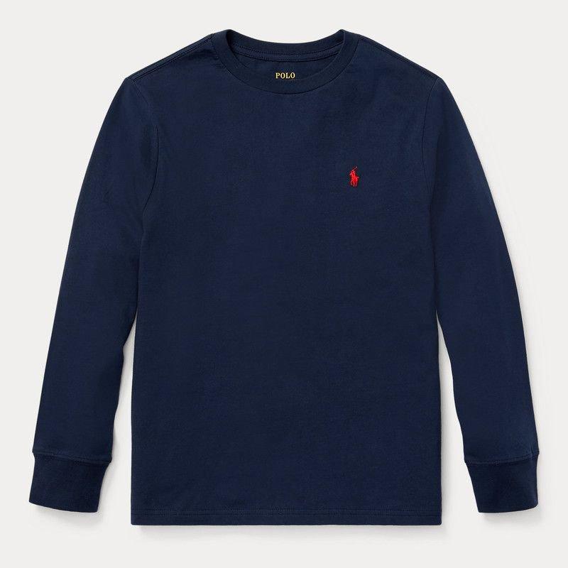 コットン・クルーネック・長袖Tシャツ[ネイビー]  (ボーイズS〜XL)