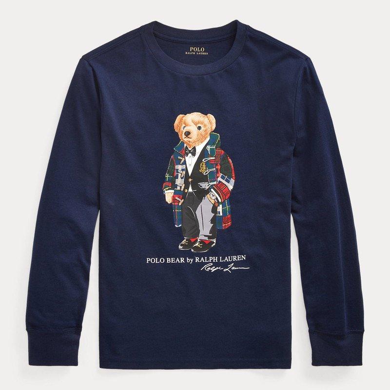 ダッフルベア・コットン・長袖Tシャツ[ネイビー] (ボーイズS〜XL)
